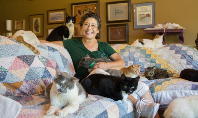 Egy nő aki több mint 1000 macskával él együtt
